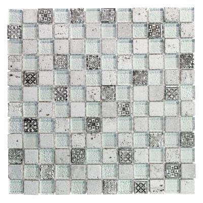 Jeffrey Court Silver Relic In X 8 Mm Gl And Travertine Mosaic Wall Tile 99655 At The Home Depot Mobile