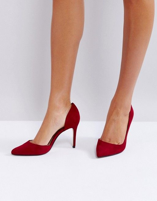 09acfee9d8ce Mango Red Pointed Court Shoe   ASOS   Pinterest   Shoes, Court shoes ...