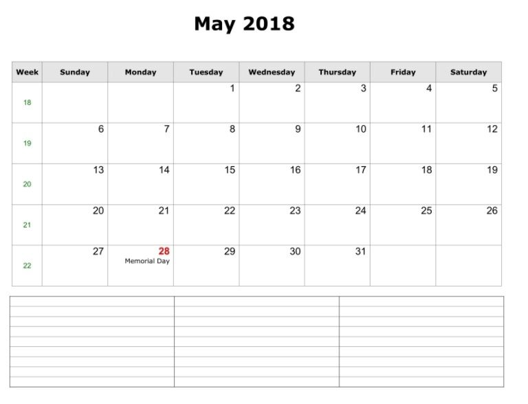 Blank May 2018 Calendar Landscape MaxCalendars Pinterest
