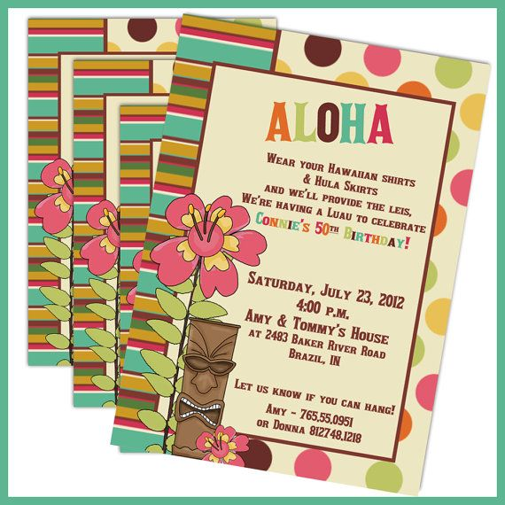 Luau Birthday Invitations Party By LullabyLoo 1800 Engagement Idea