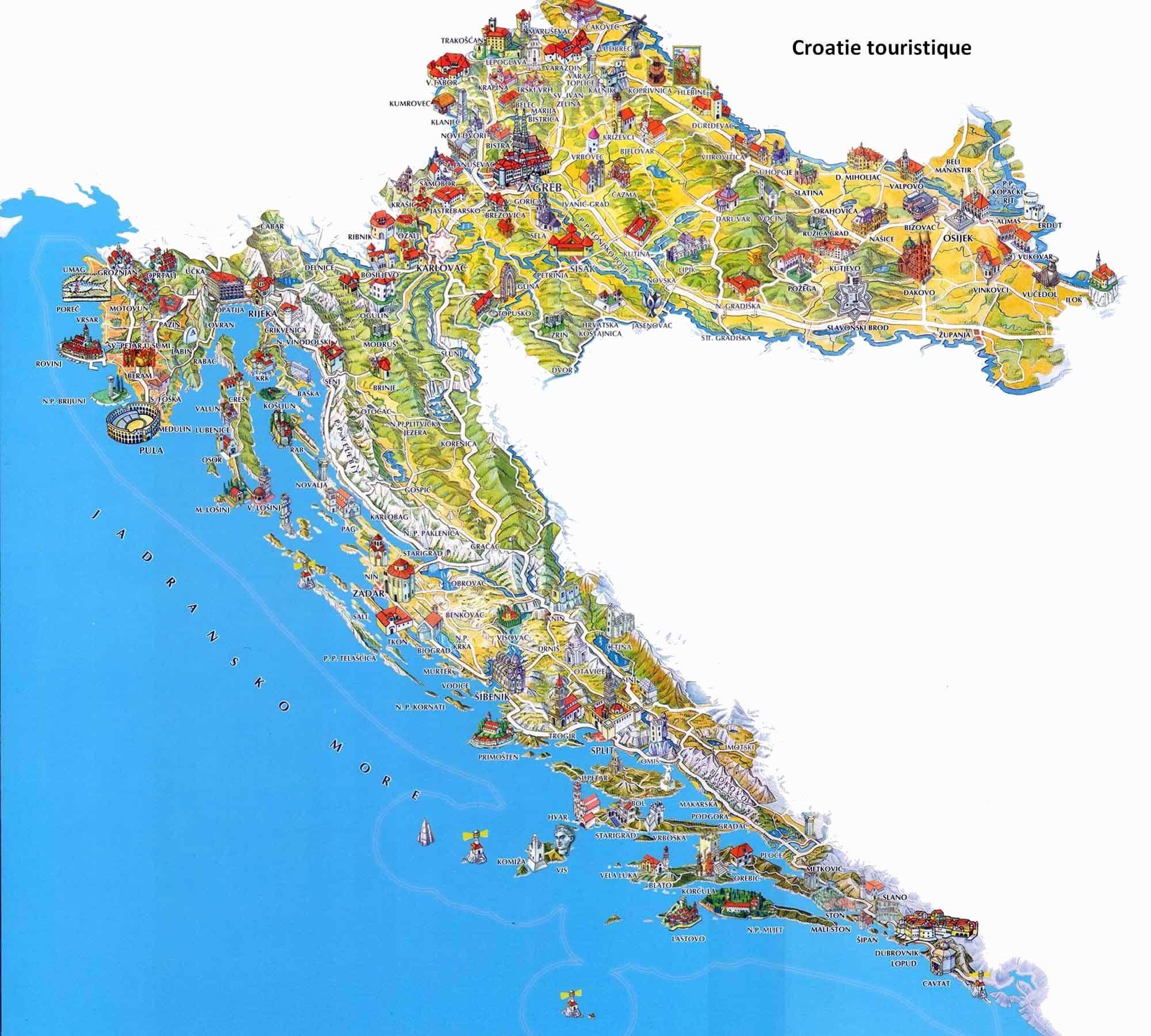 Carte De Croatie Regions Reliefs Sites A Ne Pas Manquer Routes Autoroutes Et Voies Ferrees Carte Croatie Carte Touristique Croatie