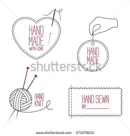 Set of icons, emblems and labels for handmade, tailor, hand sewing - seamstress resume