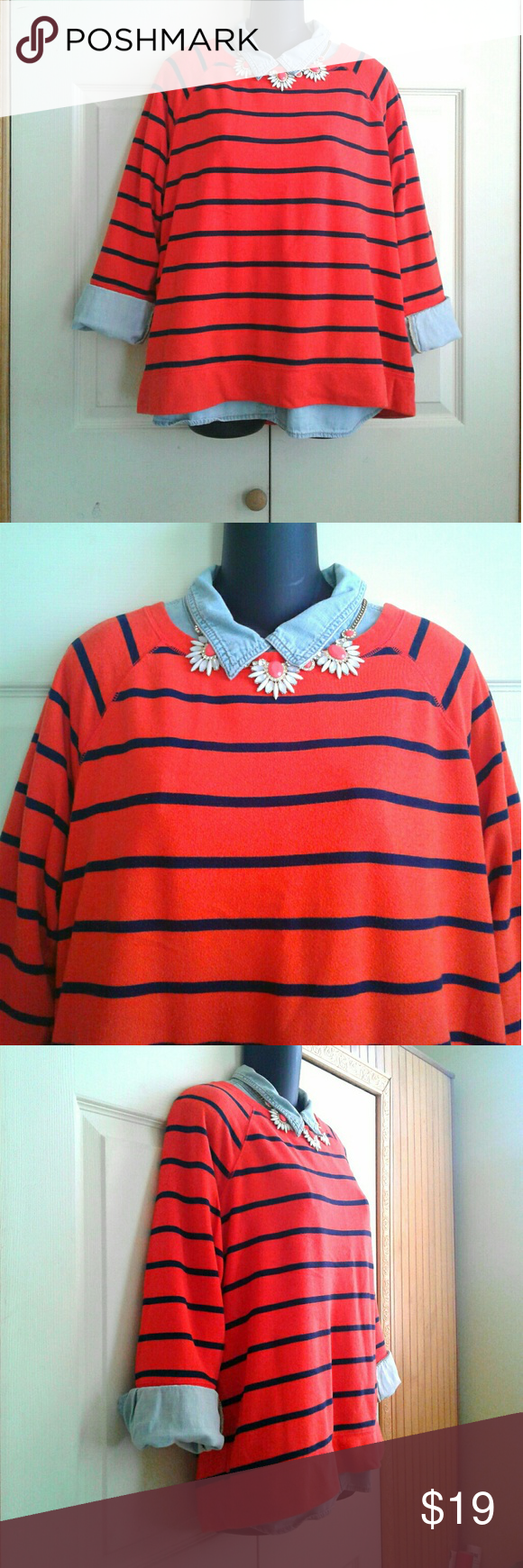 Orange & Navy Blue Striped Sweater | Striped sweaters, Orange and ...