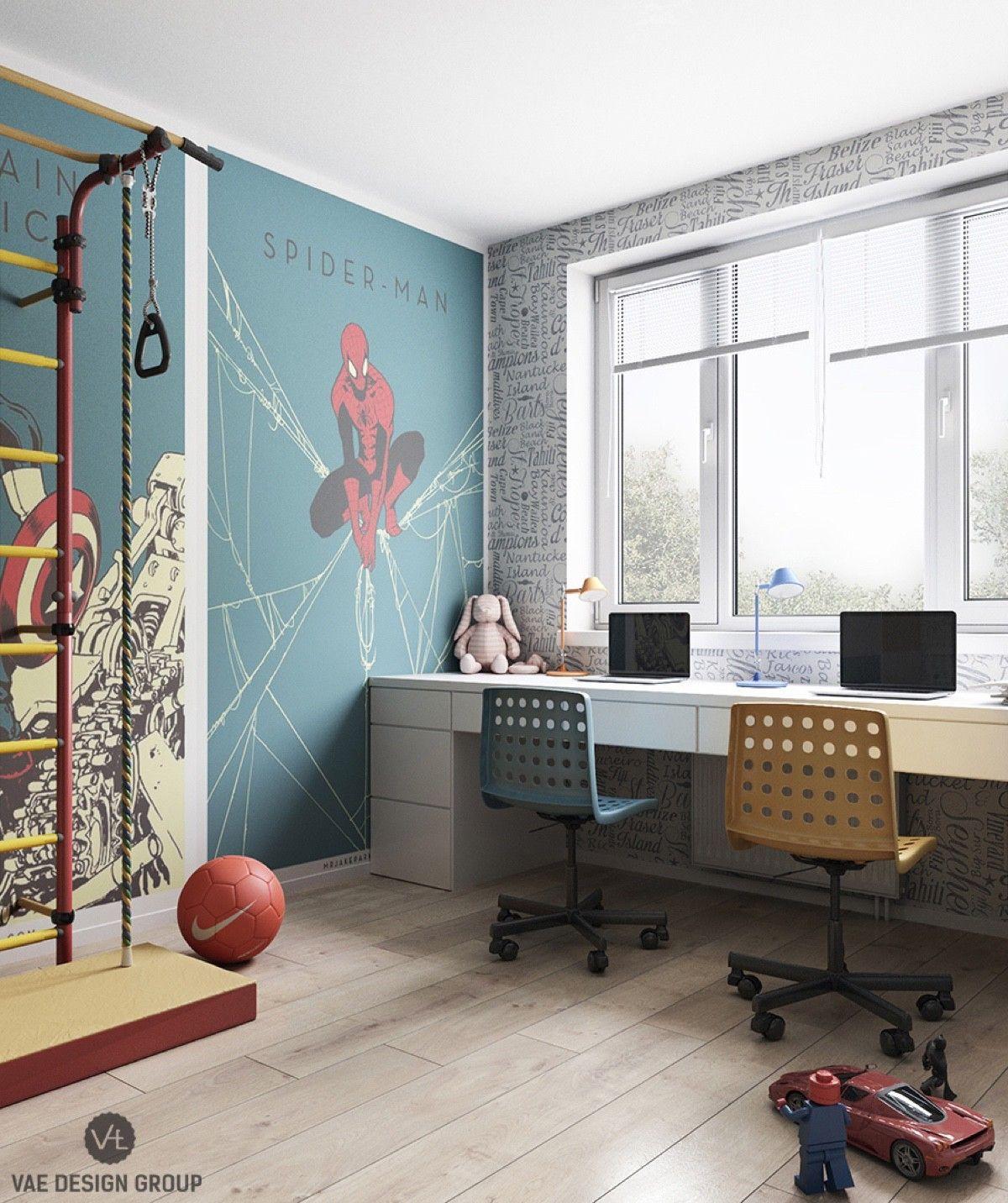 Spidermanworkstationlegothemedchairsfunkyworkspace bedroom