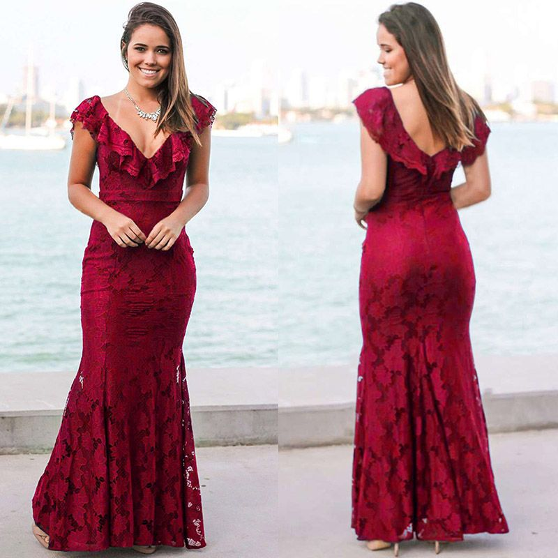 Ruffled Neckline Long Mermaid Dress In Red And Pretty Things