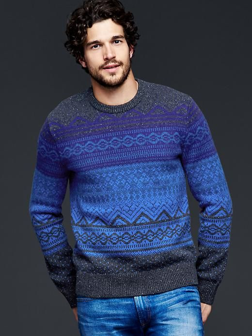 Lambswool fair isle crew sweater