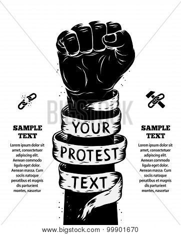 Raised Fist Held In Protest. Vector Illustration poster