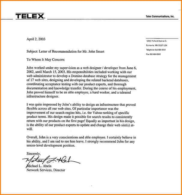 Recommendation Letter For Employee template Pinterest