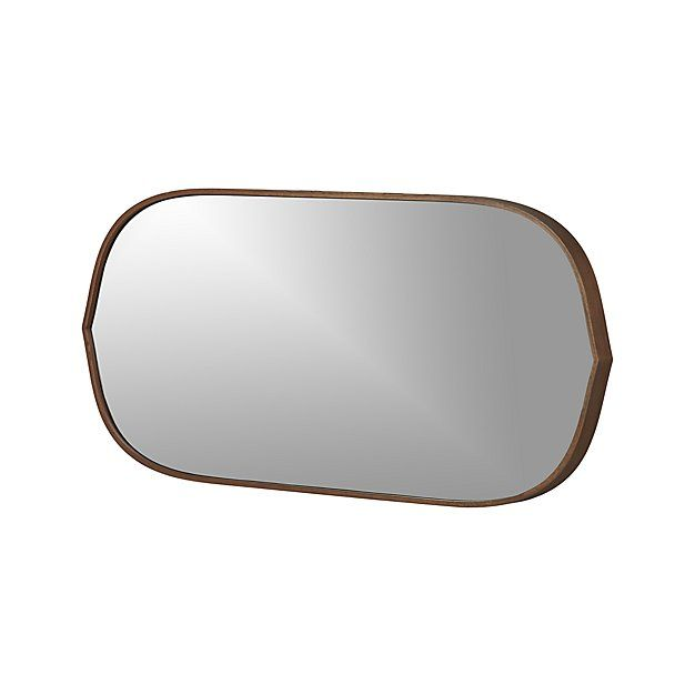 Bathroom Mirrors Crate And Barrel penarth walnut oval wall mirror - crate and barrel | crate and