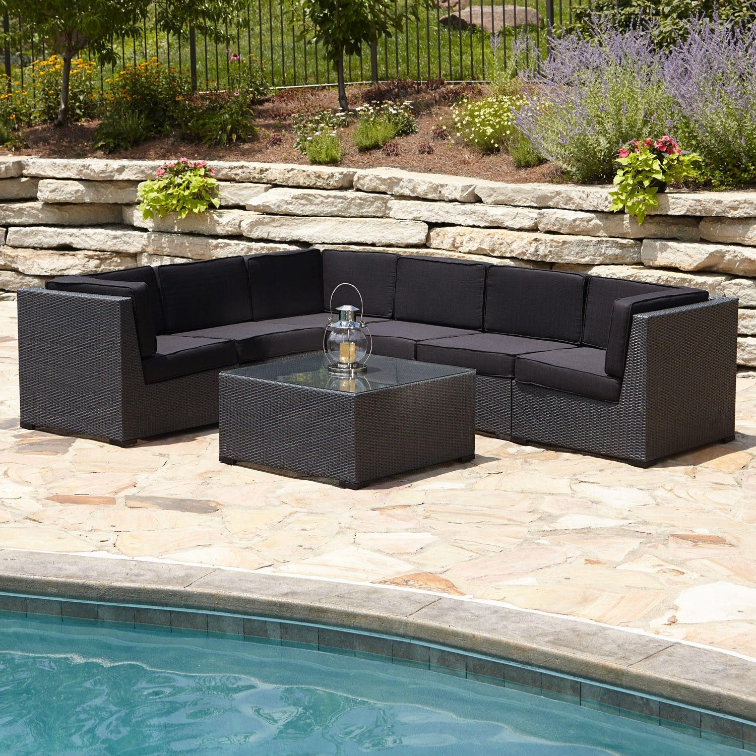 Michio Resin Wicker 7 Piece Modular Patio Lounge Set