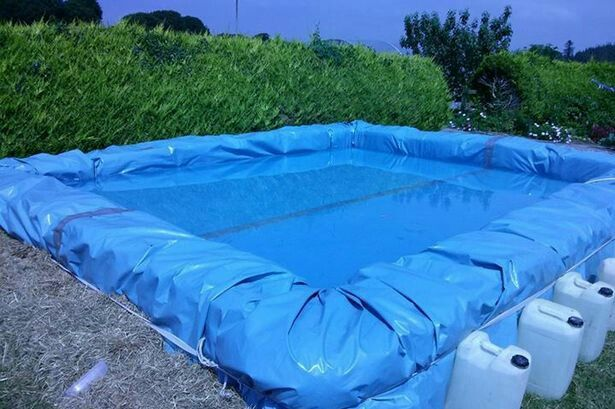 Pool Made From Hay Bales Tarp And Rope Diy Swimming Pool