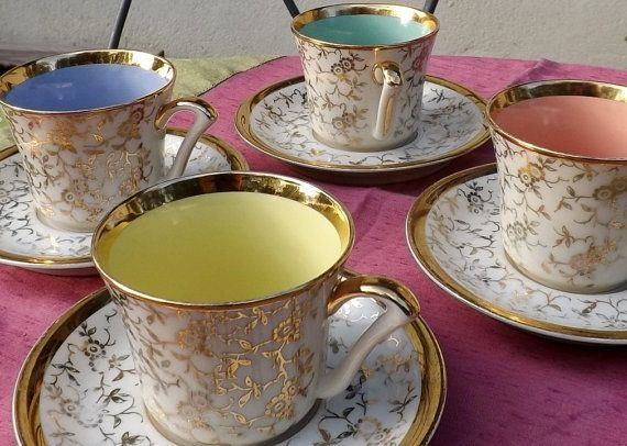 Set Of Vintage French Limoges Cups And Saucers Porcelain Coffee Tea Party