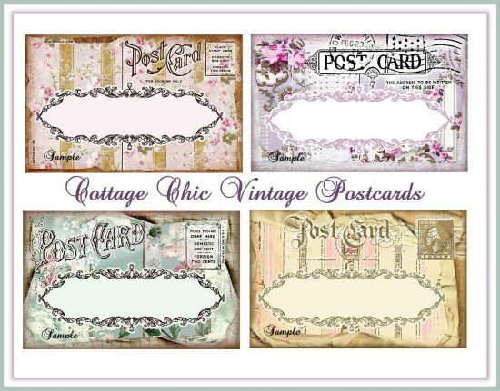 Cottage Chic Vintage Postcards for Tags, Labels, Journaling