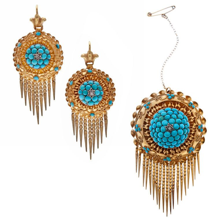 Antique Fine Turquoise Diamond Yellow Gold Brooch/Earring Suite | From a unique collection of vintage drop earrings at http://www.1stdibs.com/jewelry/earrings/drop-earrings/