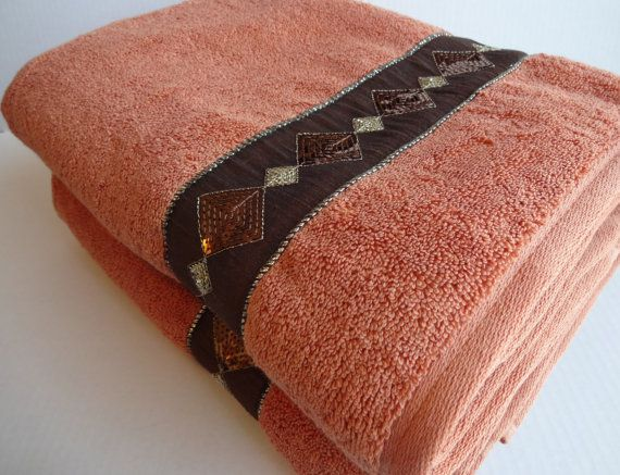 Terracotta Gold And Brown Bath Towels