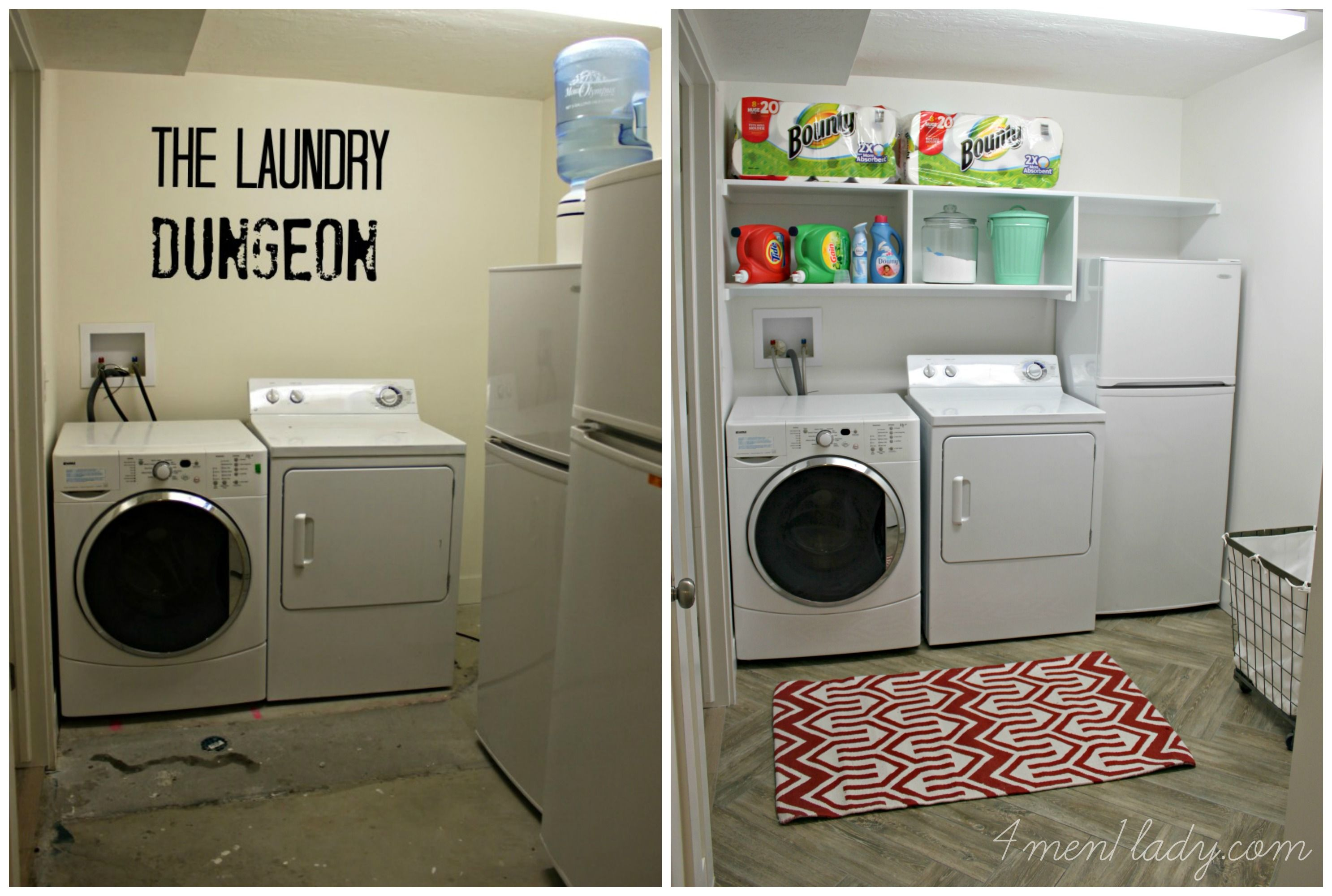 For Over Two Years We Ve Been Maneuvering The Chore Of Cleaning Clothes In Our Basement Laundry Room Makeover Unfinished Basement Laundry Basement Laundry Room