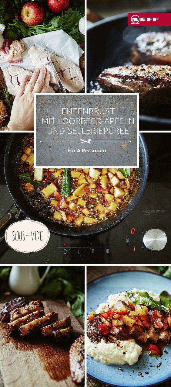 Ein Rezept für Sous-vide: Entenbrust mit Lorbeer-Äpfeln und Selleriepüree.