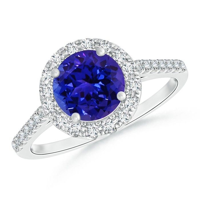 Angara Solitaire Tanzanite Halo Engagement Ring with Diamond in Yellow Gold pC0uzLUhnQ