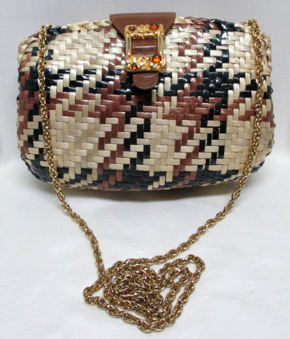 Vintage RODO Brown Black Creme Wicker Houndstooth Handbag Cross Body ... e57a1e28d01c6