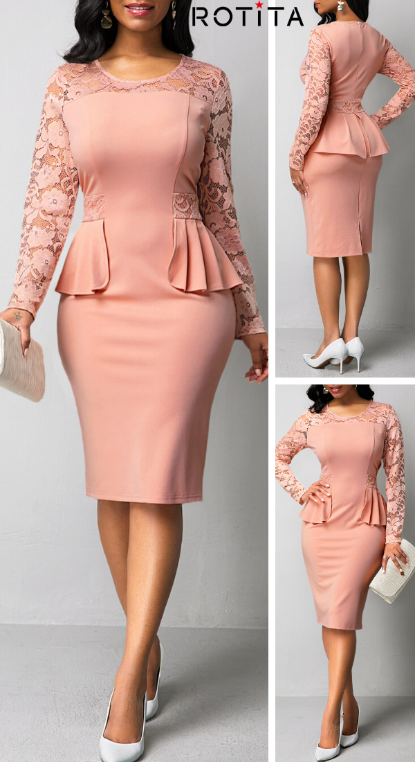 Round Neck Lace Patchwork Long Sleeve Dress