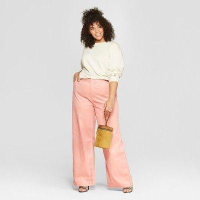 a54fa06e6ff7 Women s Plus Size Corduroy Street Sweeper Pants - Who What Wear  Pink 24W   Corduroy