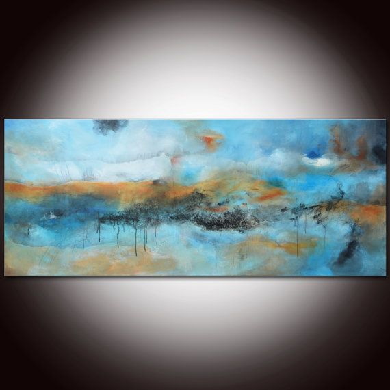 Large Original Abstract Painting Blue Art by Andrada by Andrada, $499.00 30x72