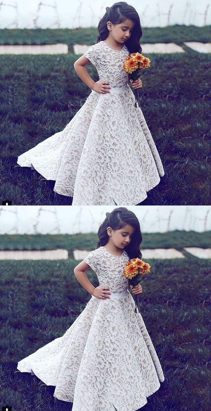 Lace flower girl dresses cap sleeveless flower girl gowns dresses