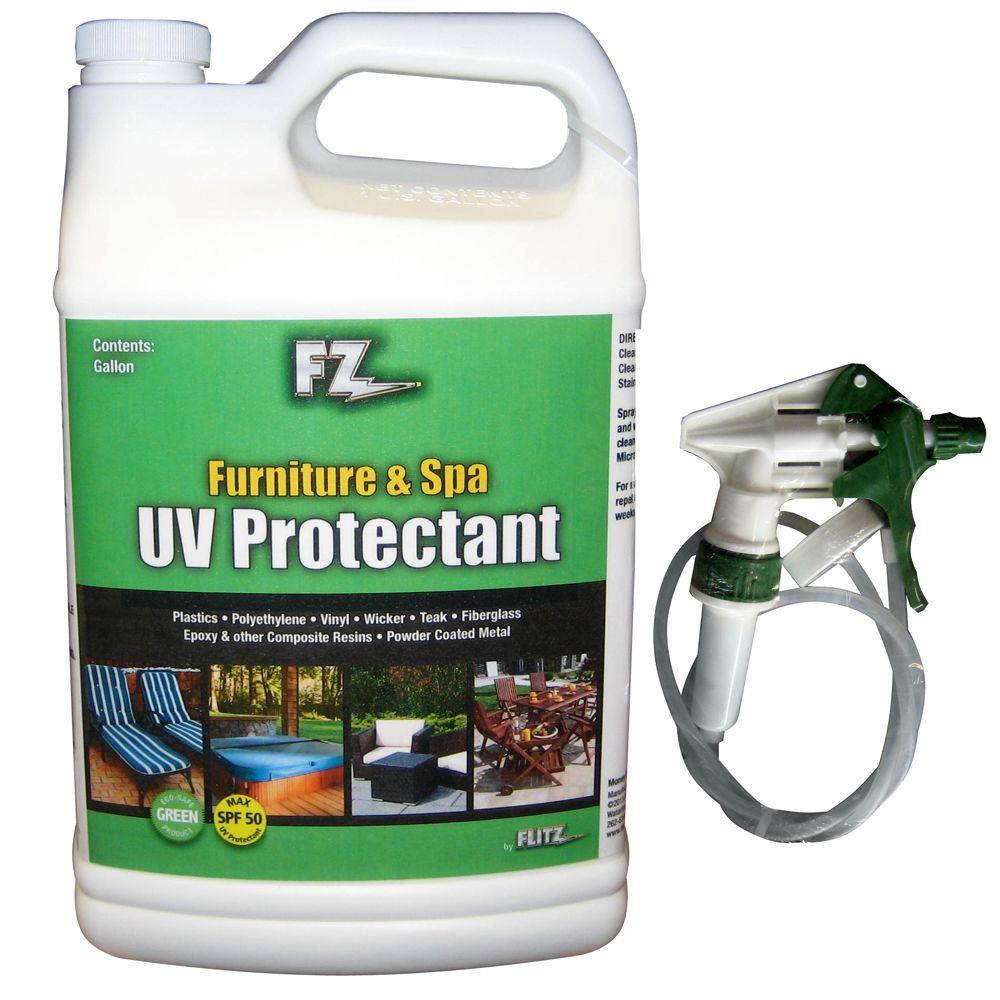 Flitz Outdoor Living Furniture & Spa UV Protectant w/SPF50 - 1 Gallon (128oz) Refill - https://www.boatpartsforless.com/shop/flitz-outdoor-living-furniture-spa-uv-protectant-wspf50-1-gallon-128oz-refill/