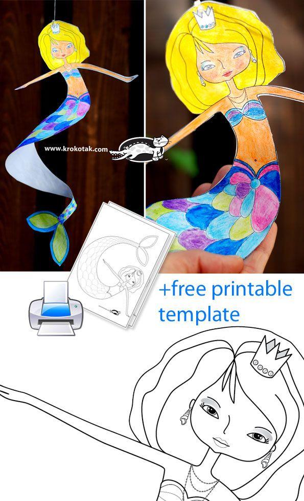 DANCING MERMAID Printable Template craft SUMMER