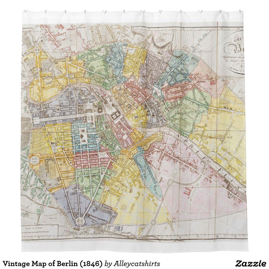 Vintage Map Of Berlin Shower Curtain Shower Curtains - Vintage map berlin