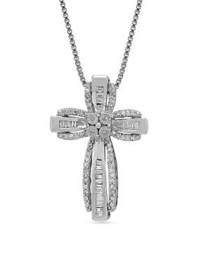 Belk co women diamond cross pendant in sterling silver silver women diamond cross pendant in sterling silver silver 18 in aloadofball Image collections