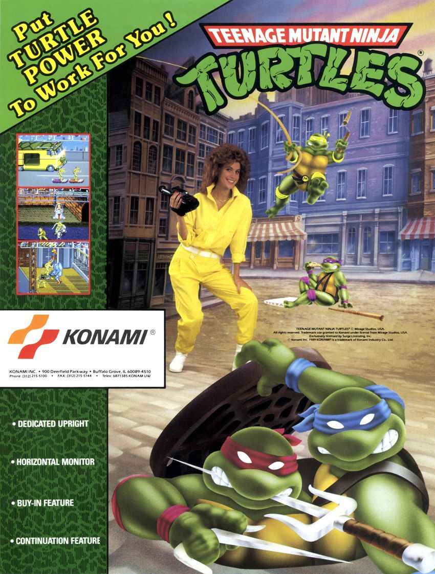 TMNT ARCADE FLYER GREAT GAME REMINDS ME MY CHILDHOOD GOOD
