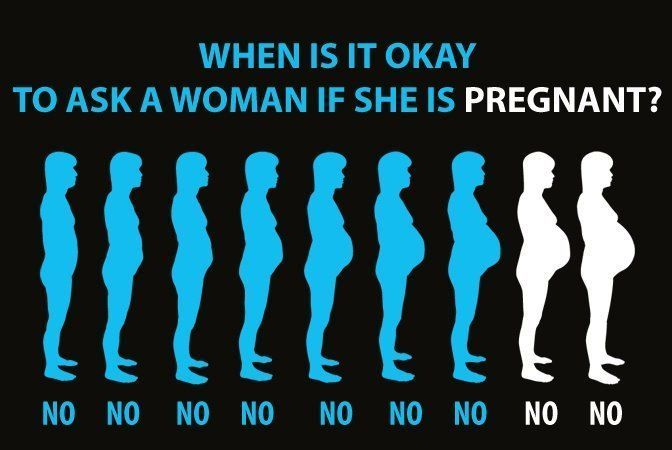 When is it okay to ask a woman if she is pregnant?...Never