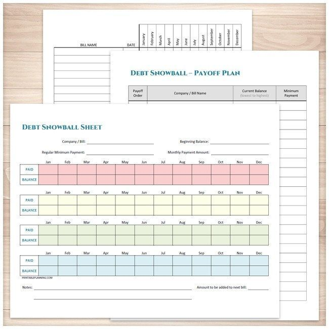 debt snowball sheet debt payoff plan and bill payment tracker log printable bundle