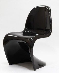 LexMod Verner Panton Style Chair In Black