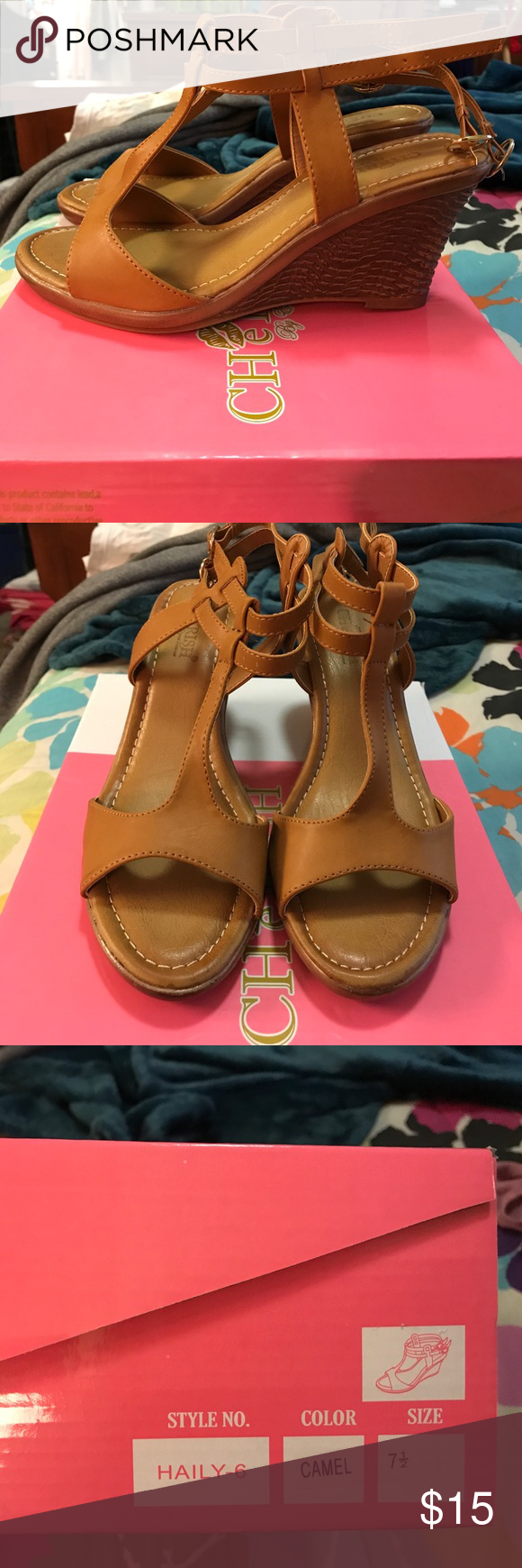 NEW Haily Wedge Sandal 7.5 by Elegant Footwear Never worn wedges; still in box! Bought last summer from Nordstrom rack and never wore them. Color: Camel. Size: 7.5. Elegant Footwear Shoes Wedges