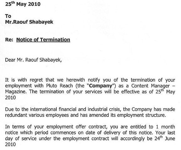 Examples Of Termination Letters Sample Termination Letter Employee