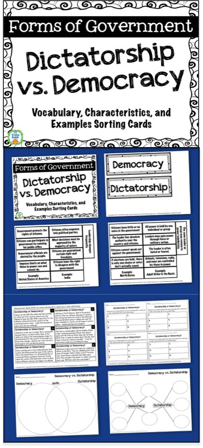 Forms Of Government Dictatorship Vs Democracy Democracy Lesson Plans Democracy Lesson Dictatorship Lessons