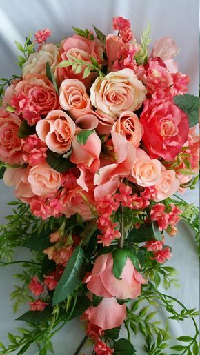 Bridal Cascade Bouquet Coral Peach Many Sizes Disc Package Available Pick Colors Flower Ribbon, Roses Realistic Handmade Original Looks Real