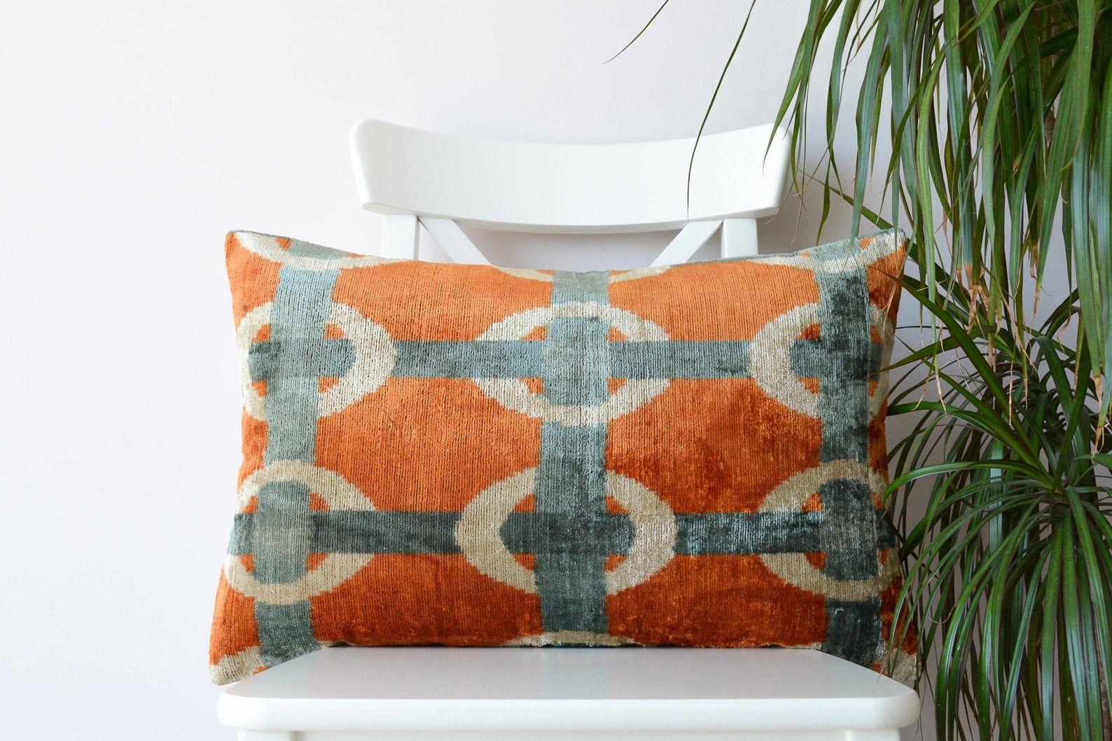Orange gray silk velvet ikat lumbar pillow cover