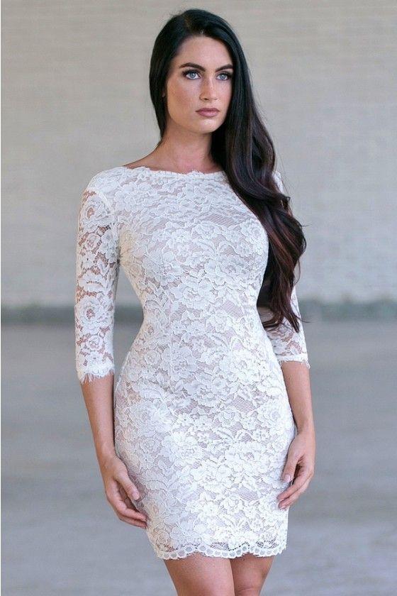 Addison Three Quarter Sleeve Lace Dress In Cream Ohh Wedding Fun