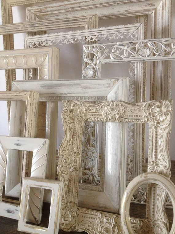 Empty Picture Frame Set Of 5 White Shabby Chic Wall Decor