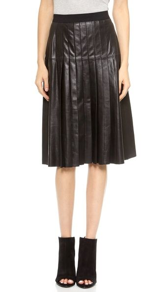 Vince Leather Pleated Skirt