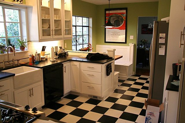 Bright green against the black and white tile gives a contemporary retro feel.    future kitchen plans for a breakfast nook built in