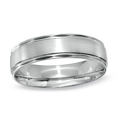 mens 60mm comfort fit diamond cut edge wedding band in 10k white gold