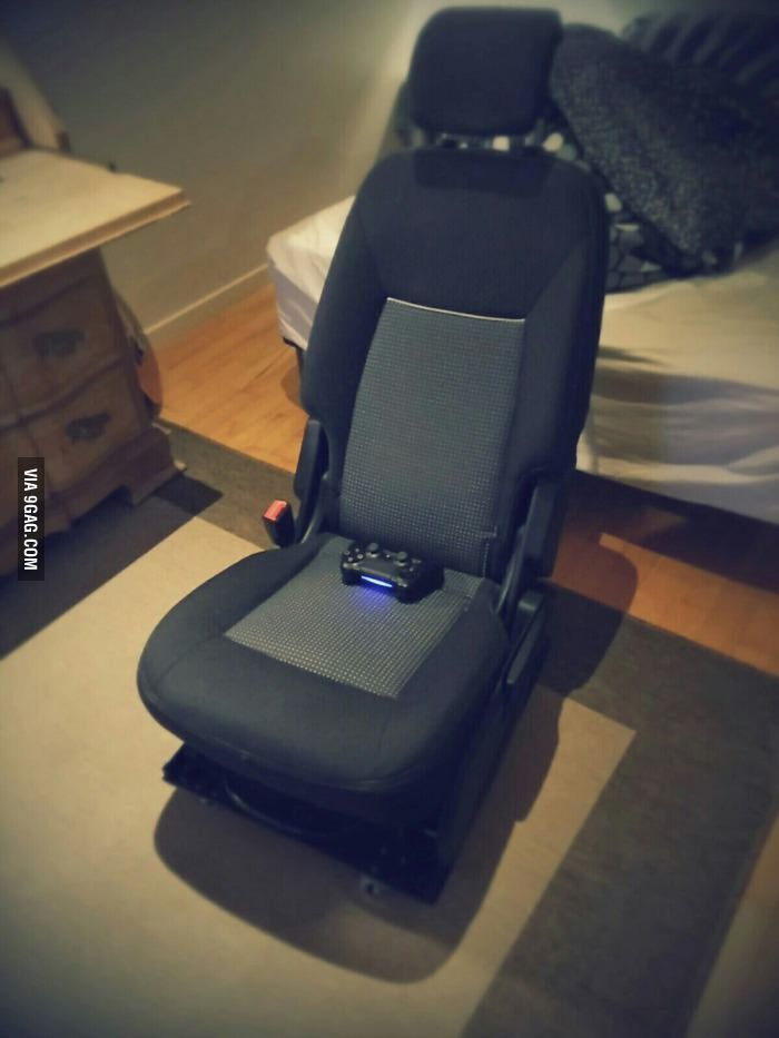 Car-seat gaming chair. best idea ever. | Car seats, Sports food and