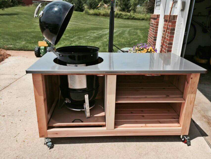 Weber Wsm Smoker Enclosure Great Idea Going To Extend This Grill Table Outdoor Kitchen Patio Bbq Table,Concrete Floors In Kitchen