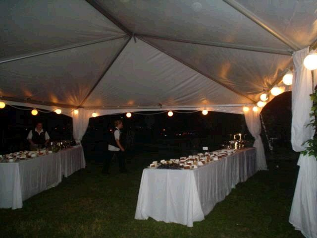 Tent with hanging globe lights... I like the curtains tied around ...