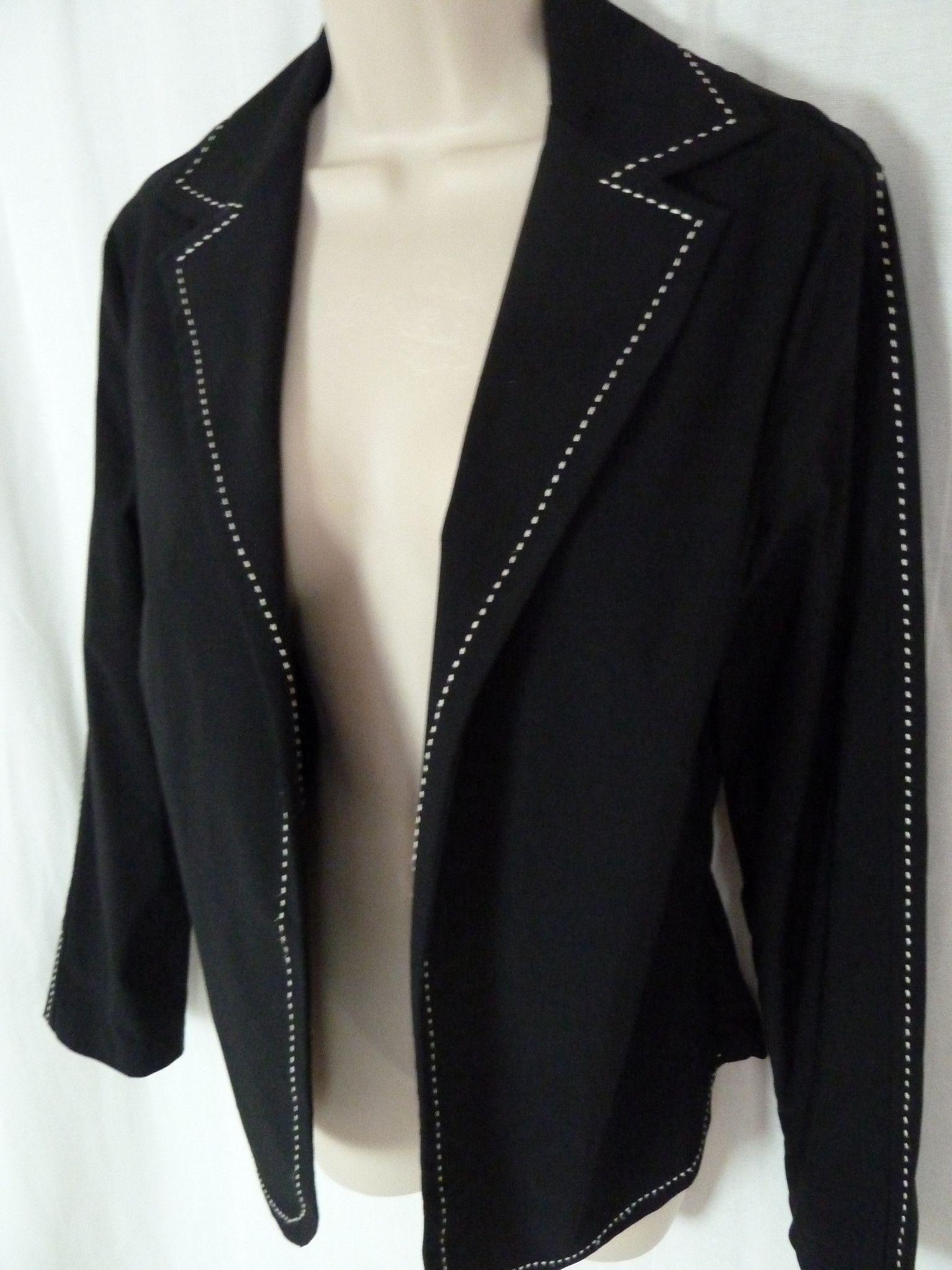 Awe Inspiring Cache Black Open Front Jacket 12 Blazer Ivory Stitch Trim Andrewgaddart Wooden Chair Designs For Living Room Andrewgaddartcom