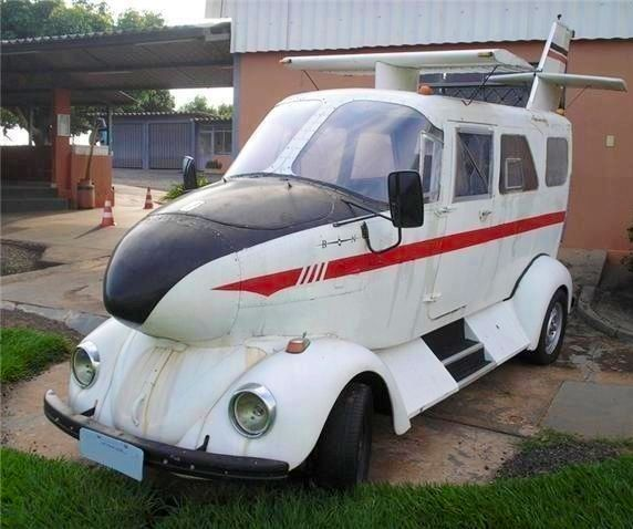 .Do you want to fly your VW beetle? Airplane body on VW Beetle